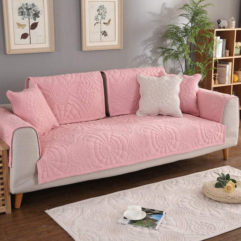 YUTJK Europeo Fundas De Sofá,Funda de sofá de Flores Bordadas de algodón,Capa Antideslizante del Respaldo,Funda de Cama,cojín de Alfombra para Sala de Estar-Pink_90*210cm