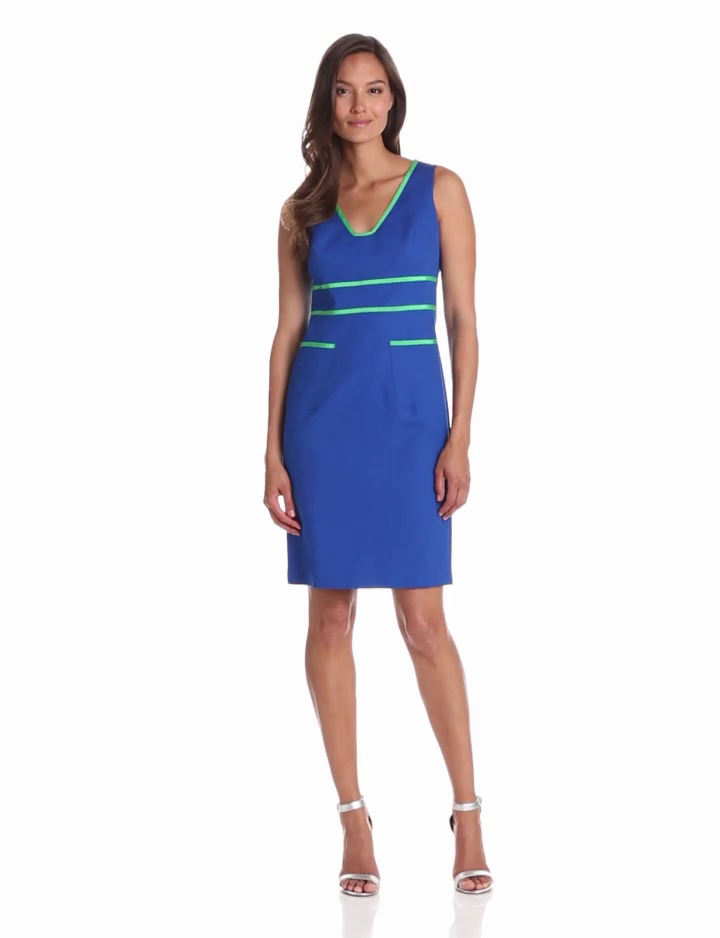 Anne Klein Womens Petite Contrast Trim Sheath Dress