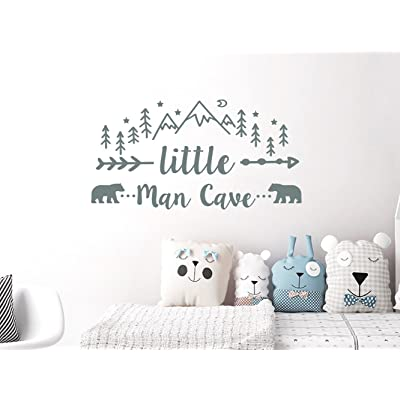 """N.SunForest Little Man Cave Wall Stickers Woodland Nursery Decor Mountains Nursery Rustic Decor Bear Decal Kids Room Man Cave Wall Decal 20""""x38"""": Home & Kitchen"""