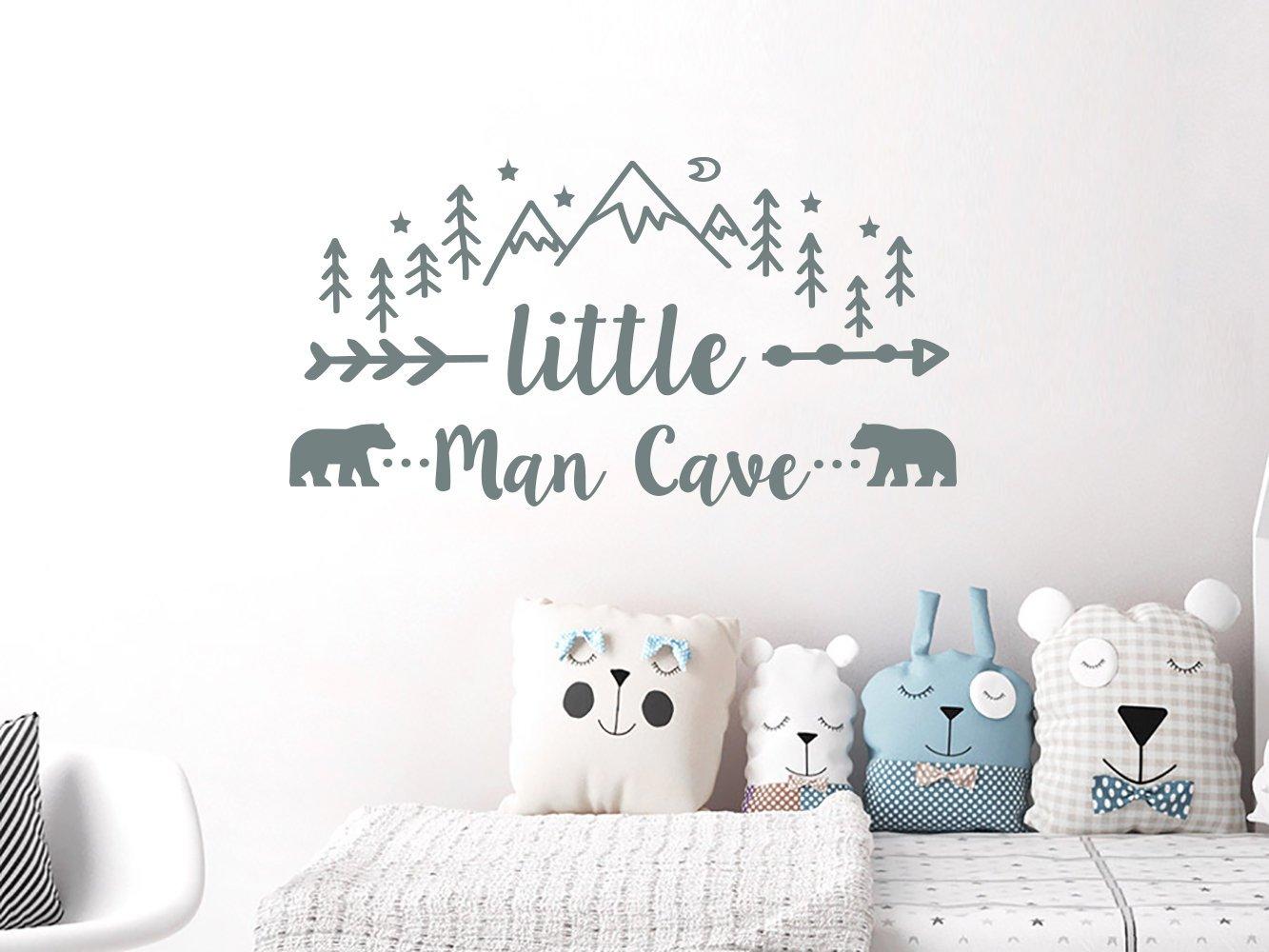 "N.SunForest Little Man Cave Wall Stickers Woodland Nursery Decor Mountains Nursery Rustic Decor Bear Decal Kids Room Man Cave Wall Decal 20""x38"""