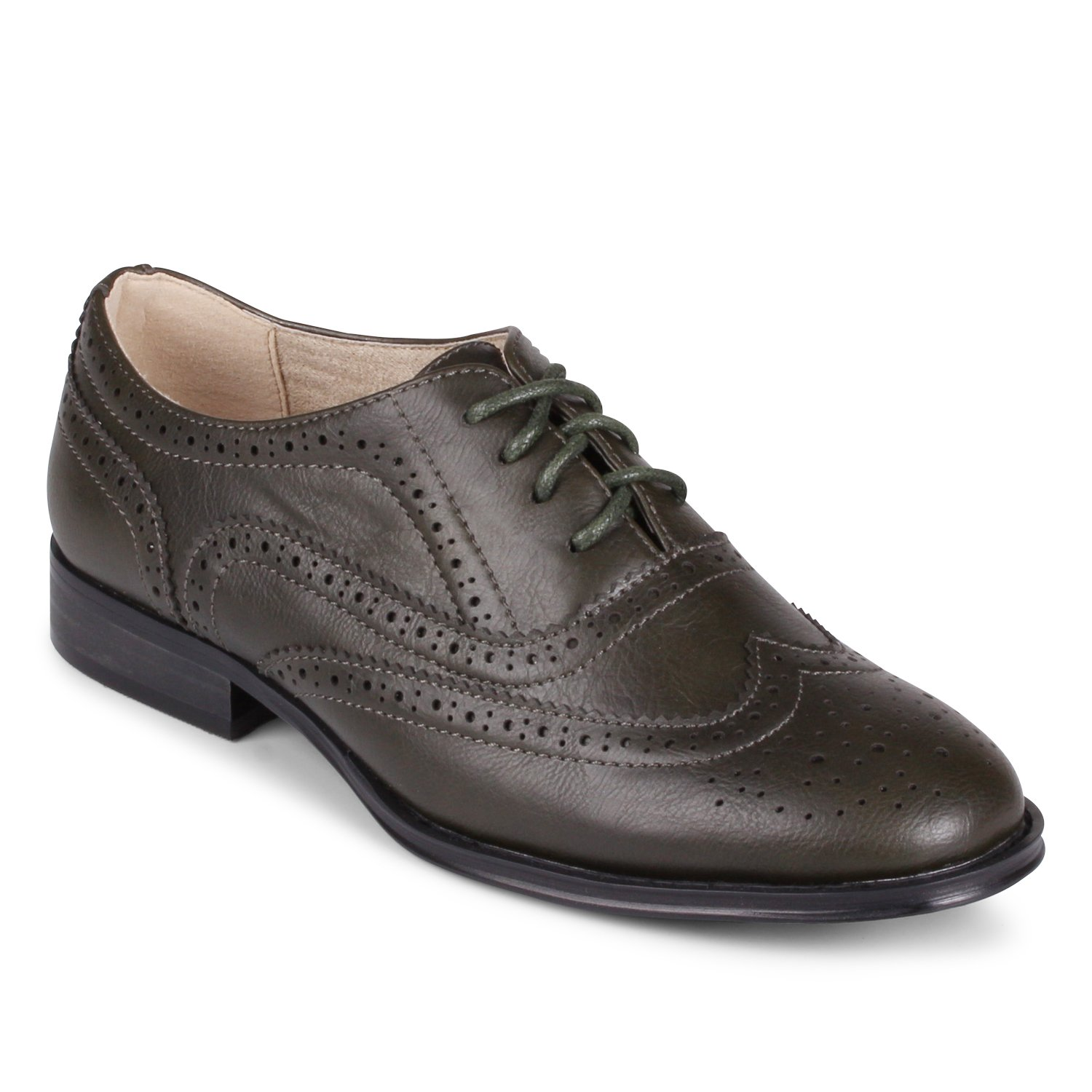 Wanted Shoes Womens Babe Oxford, Olive, 5.5 M US