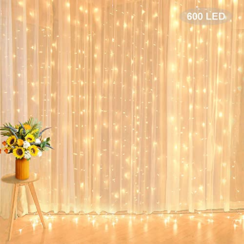 Curtain Lights String, TOFU 19.7 Ft 600 LED Backdrop Curtain with 8 Flashing Modes, Low Voltage Twinkle Lights for Wedding Hotel Party Bedroom Wall Hall Indoor and Outdoor Decoration, Warm White
