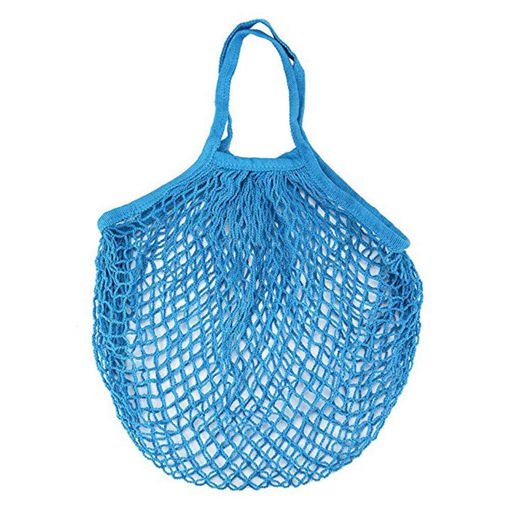 Azul Moda Bolsa para la Compra Bolsa de Malla Algod/ón y Lino Tejiendo Reutilizables Bolso de Hombro para Mujer Hombre 50 * 30CM Leisial
