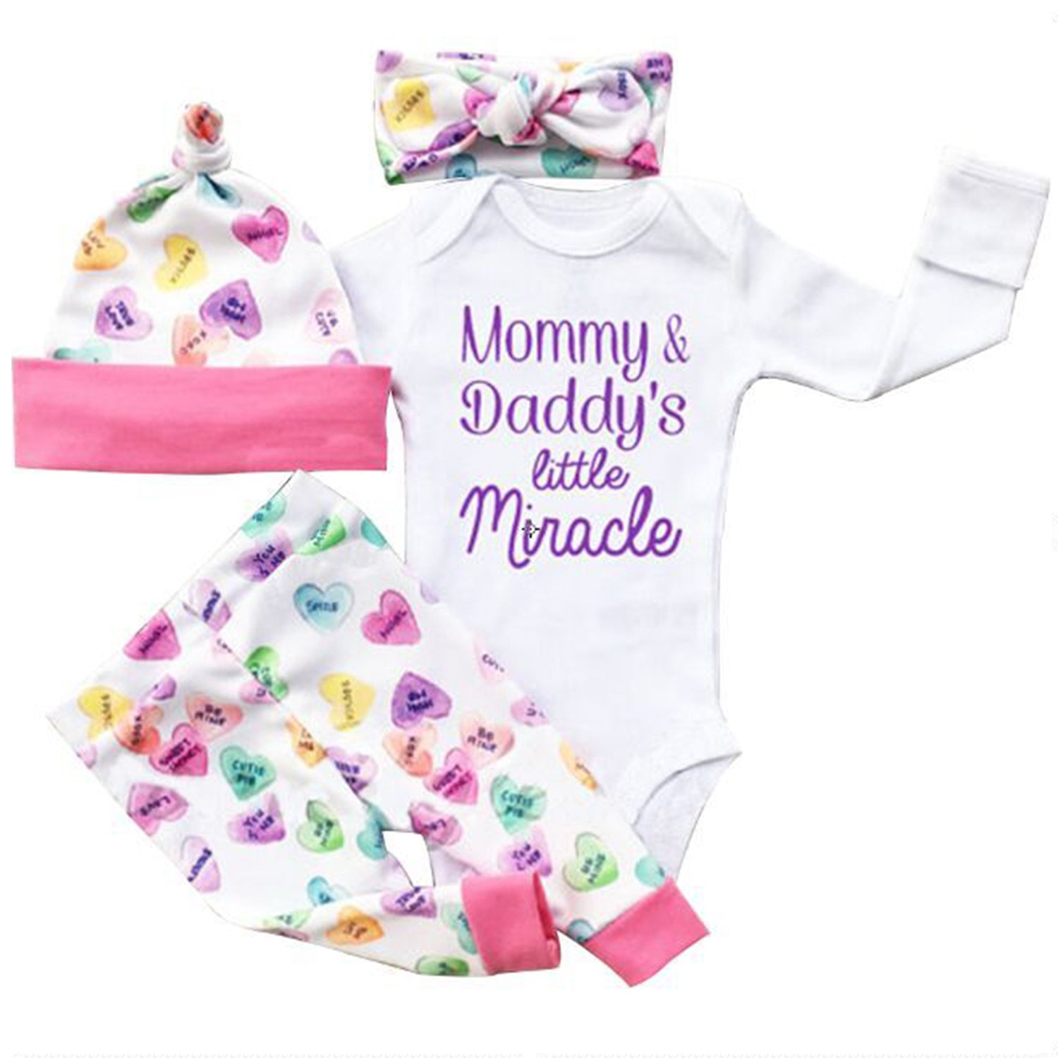 Opperiaya 4 Pcs Newborn Baby Girls Clothes Miracles Letter Romper Outfit Pants Set +Hat+Headband