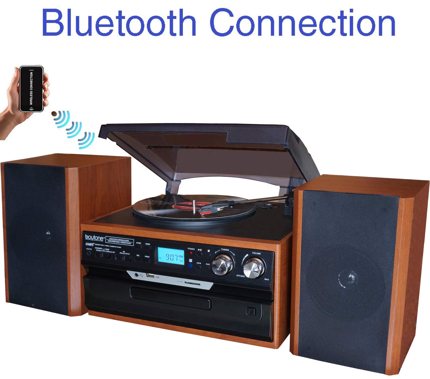 Boytone BT-24MB Bluetooth Classic Style Record Player Turntable with AM/FM Radio, CD/Cassette Player, 2 Separate Stereo Speakers, Record from Vinyl, Radio, and Cassette to MP3, SD Slot, USB, AUX. by Boytone
