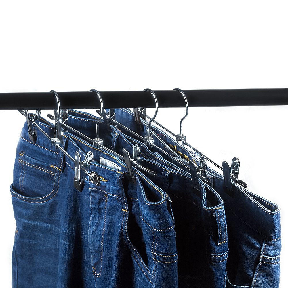 Tosnail Metal Pants Skirt Slack Hangers with 2-Adjustable Clips, 15-Pack by Tosnail (Image #3)