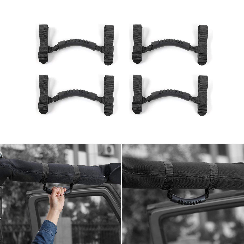 DQDZ 4 x Roll Bar Grab Handles Grip Handle-Black
