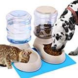 Automatic Cat Feeder and Water Dispenser in Set with Pet Food Mat for Small Medium Dog Pets Puppy Kitten Big Capacity 1 Gallo