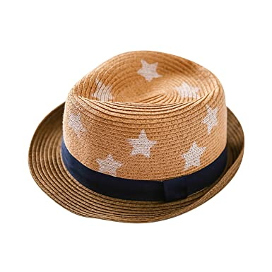 8e79dee6210 Baby Kids Straw Sun Hat Boys Fedora Cowboy Cap Summer Beach Panama Hat   Amazon.co.uk  Clothing