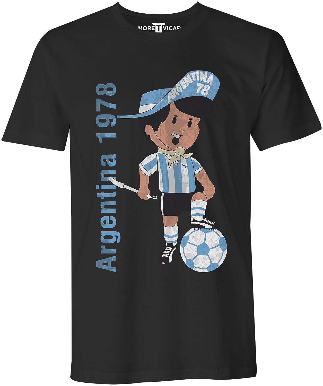 More T Vicar Argentina 78 Vintage T Shirt - Uomo di Calcio Coppa del Mondo Maglietta