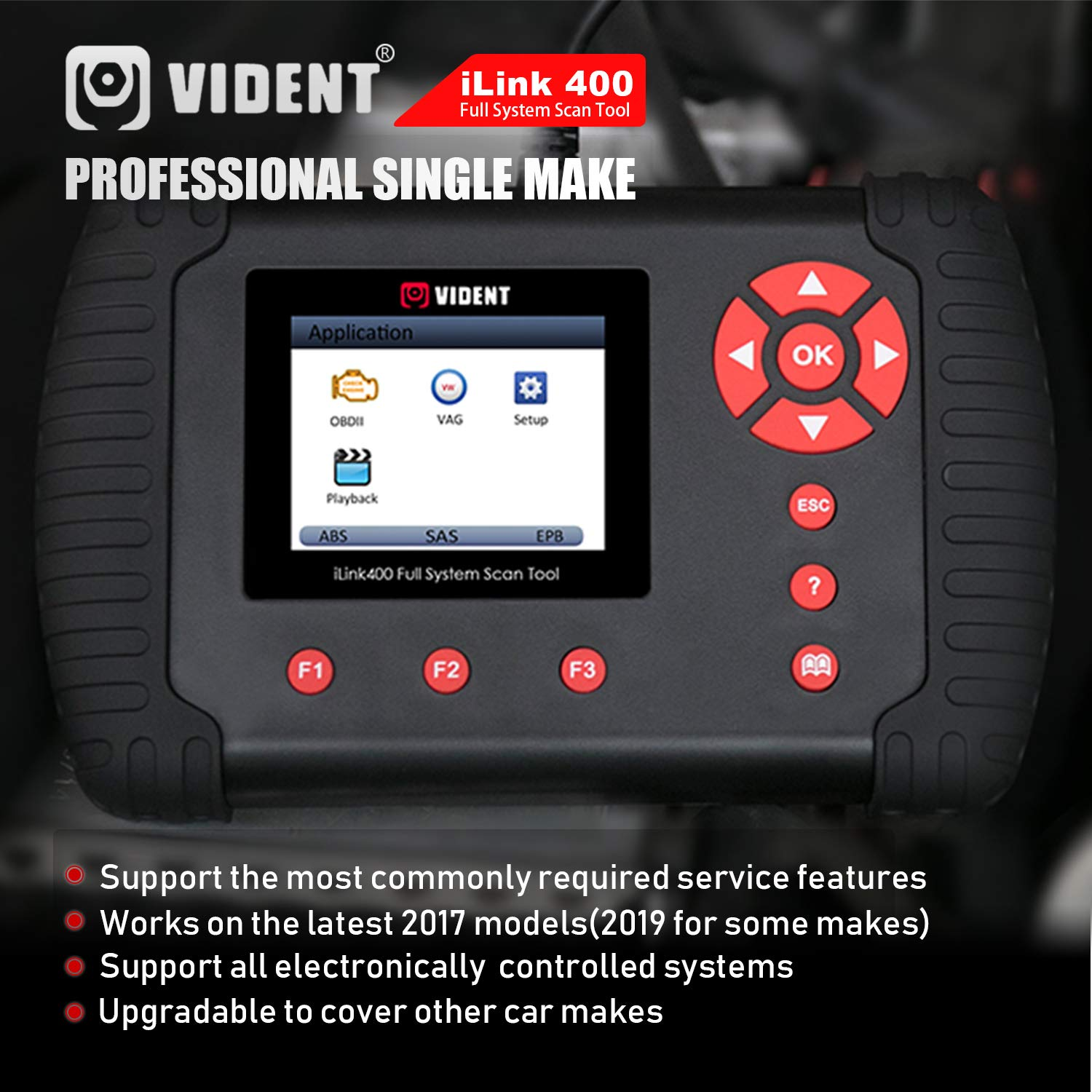 VIDENT iLink400 Auto Scanner Multi-System Scan Tool Code Reader OBDII Support ABS EPB SRS Transmission Diagnostic DPF Regen Oil Reset Coding Battery Configuration