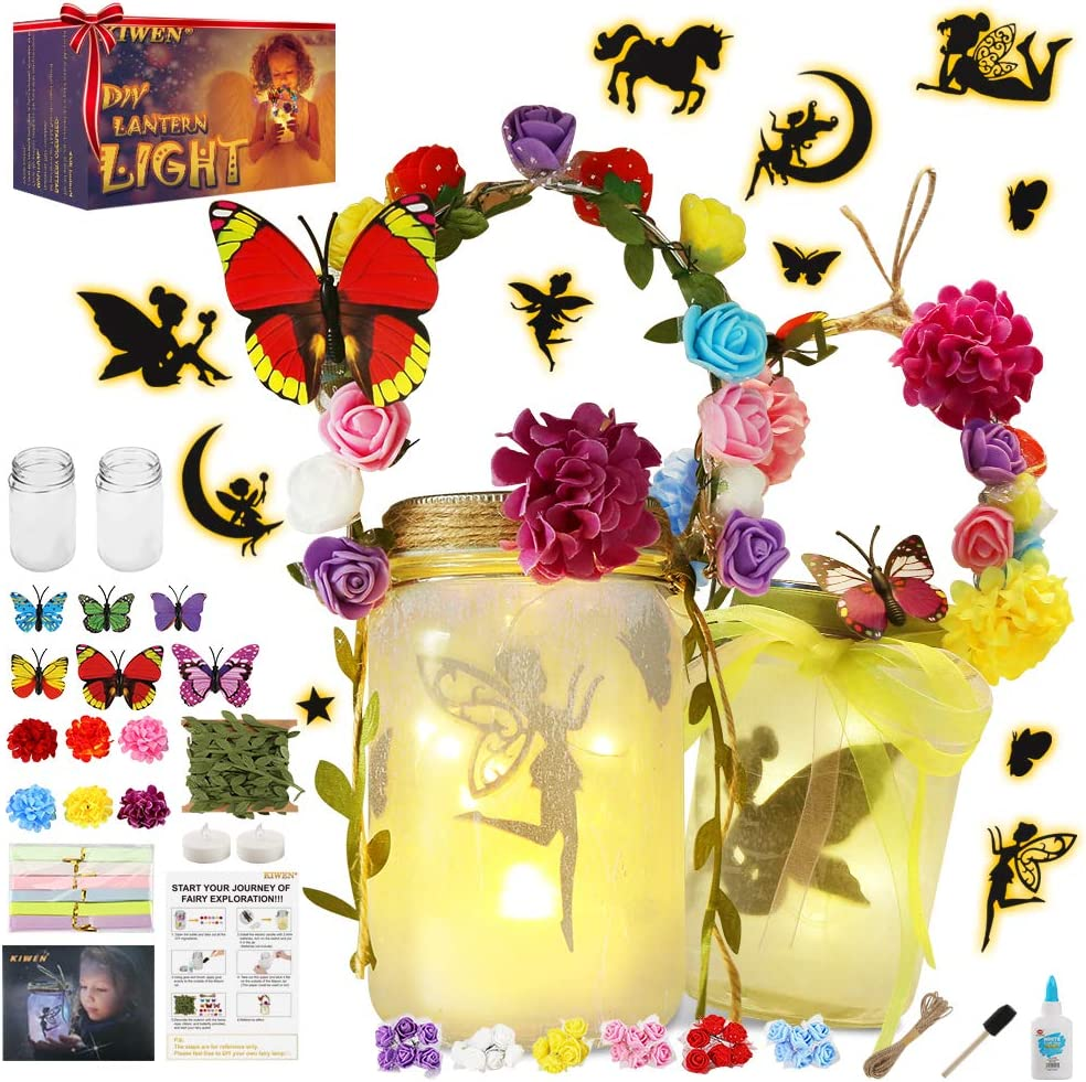 KIWEN Fairy Lantern Craft Kit for Girls and Boys, Fairy Garden Kit,Lantern Light, DIY Fairy Jar Night Lights Craft for Kids