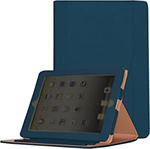 for iPad 9.7 6th/5th Generation 2018/2017, iPad Air/Air 2 Case, JYtrend Multi-Angle Viewing Stand Folio Smart Cover with Pocket for A1893 A1954 A1822 A1823 A1474 A1475 A1476 A1566 A1567 (Navy)
