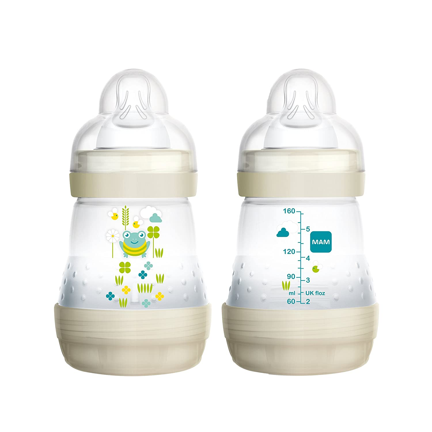 MAM Baby Bottles for Breastfed Babies, MAM Baby Bottles Anti Colic, White, 5 Ounces, 2-Count 5192-006-3-1