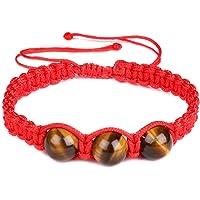 Pulsera trenzada de piedra de ojo de tigre natural de 10 mm, cuerda roja, pulsera de la suerte ajustable para hombres y…