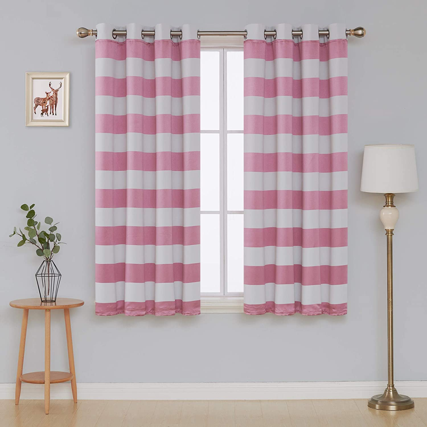 Deconovo Pink Striped Blackout Window Curtains Thermal Insulated Pink and Greyish White Striped Curtains for Bedroom 52W X 45L Baby Pink 2 Panels