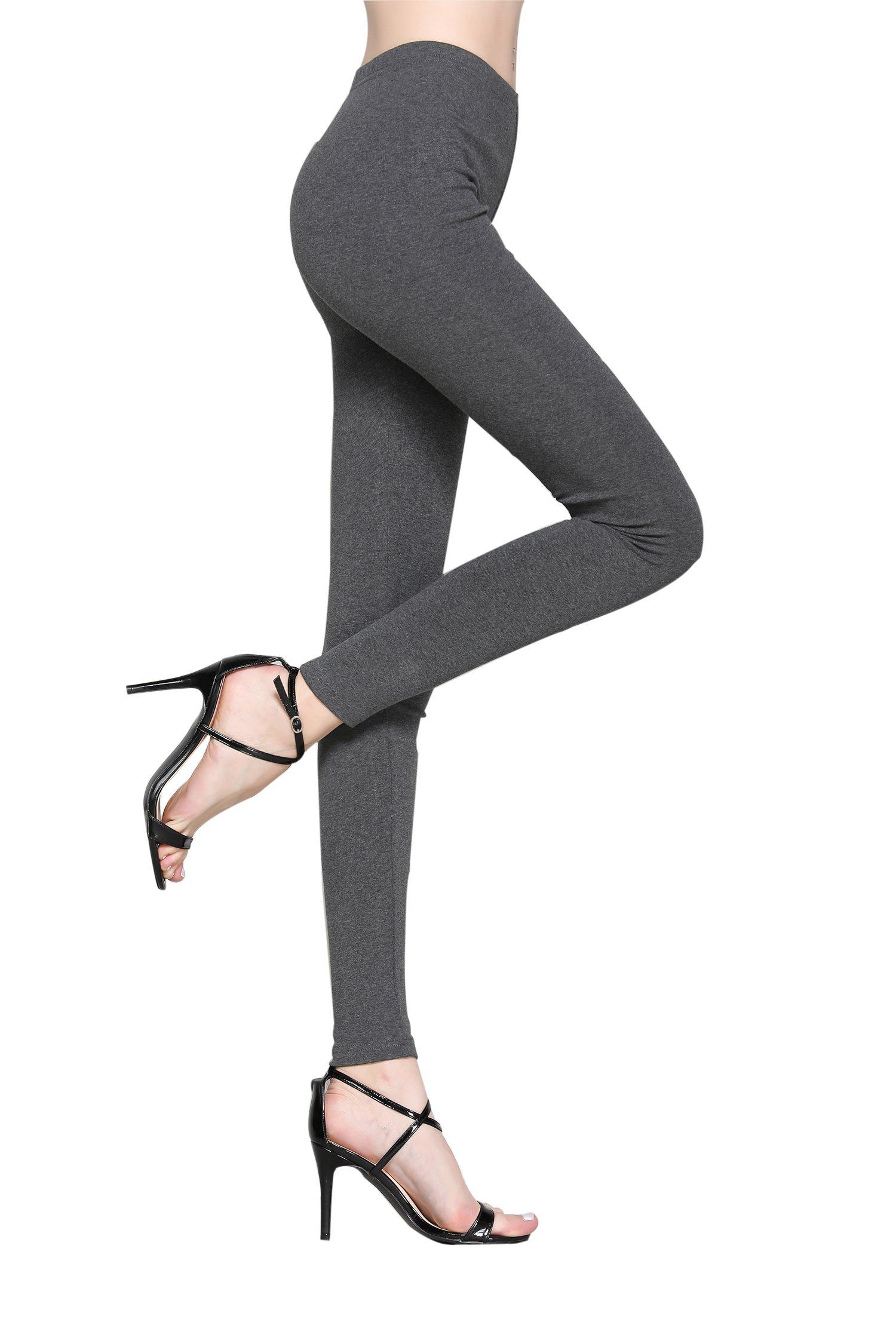 HIKA Women's Basic Cotton Full Length Leggings (X-Large, Heather Grey)