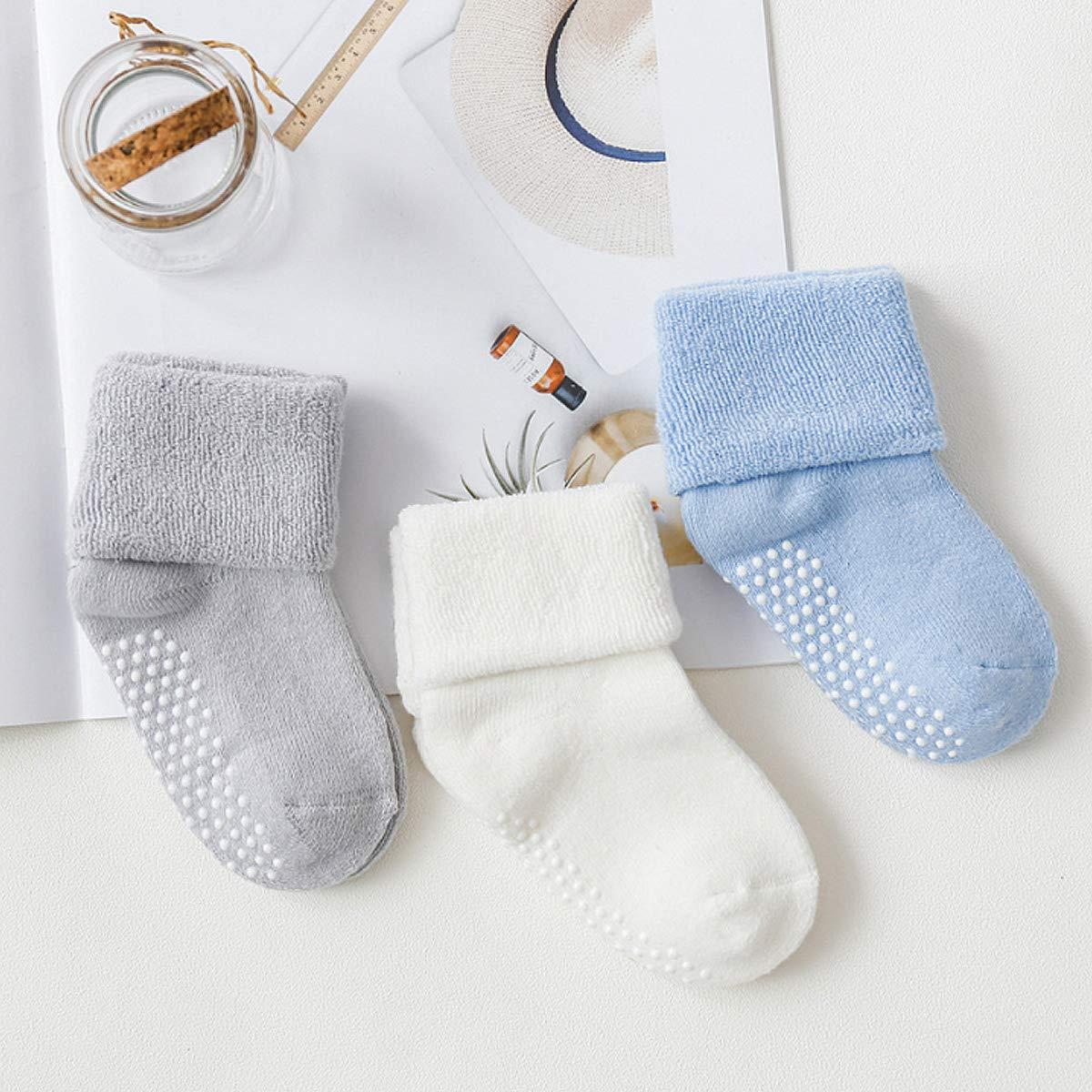 Stoppersocken schlummersack Rutschfeste ABS-Socken Anti-Rutsch-Socken im 3er Pack aus Baumwolle f/ür Babys und Kinder
