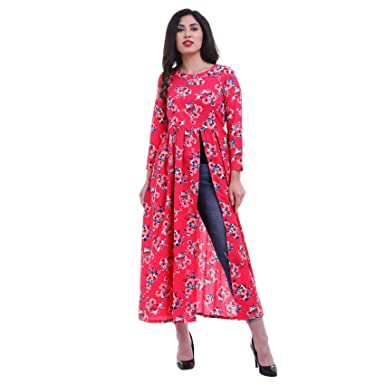 39078490b ROZVEH Women's Pink Floral Print High Slit Maxi Dress: Amazon.in: Clothing  & Accessories
