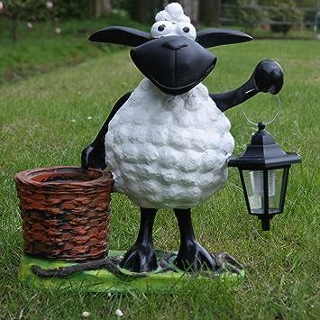 Deko-Schaf mit LED-Lampe und Pflanztopf Dekofigur zum Bepflanzen Tierfigur