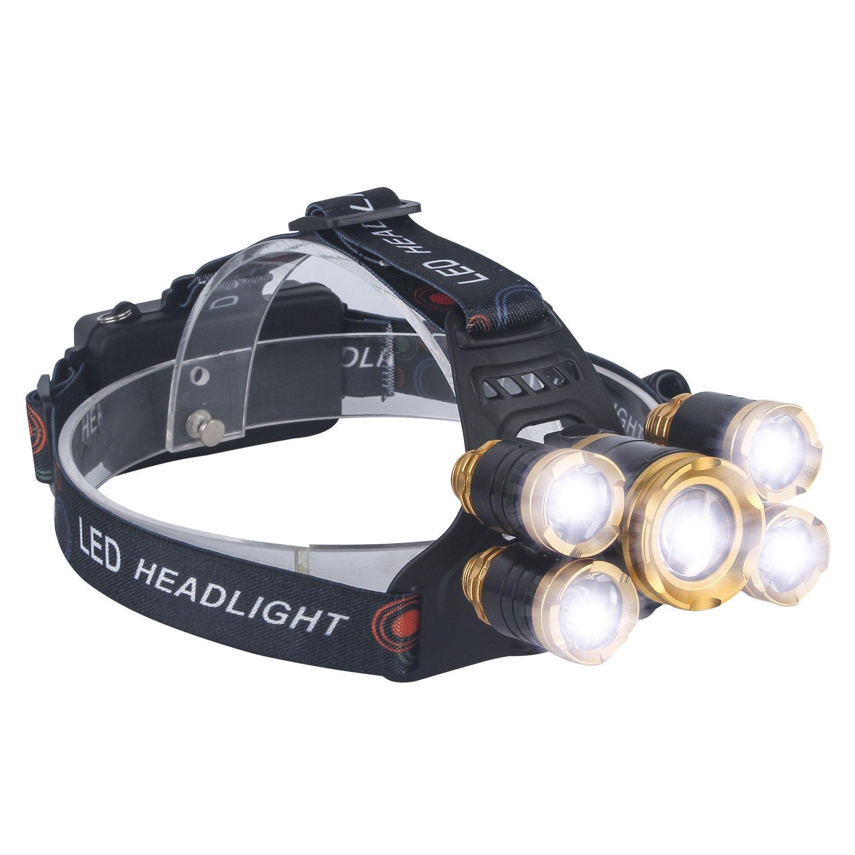 LED Stirnlampe, SUNINESS Super Bright 8000 Lumen Rechargable Wasserdichte Stirnlampe Taschenlampe mit verstellbarem Strap 5 Cree LEDs und 4 Modi für Outdoor-Wandern Camping Jagd Angeln Radfahren Laufen Sky castle