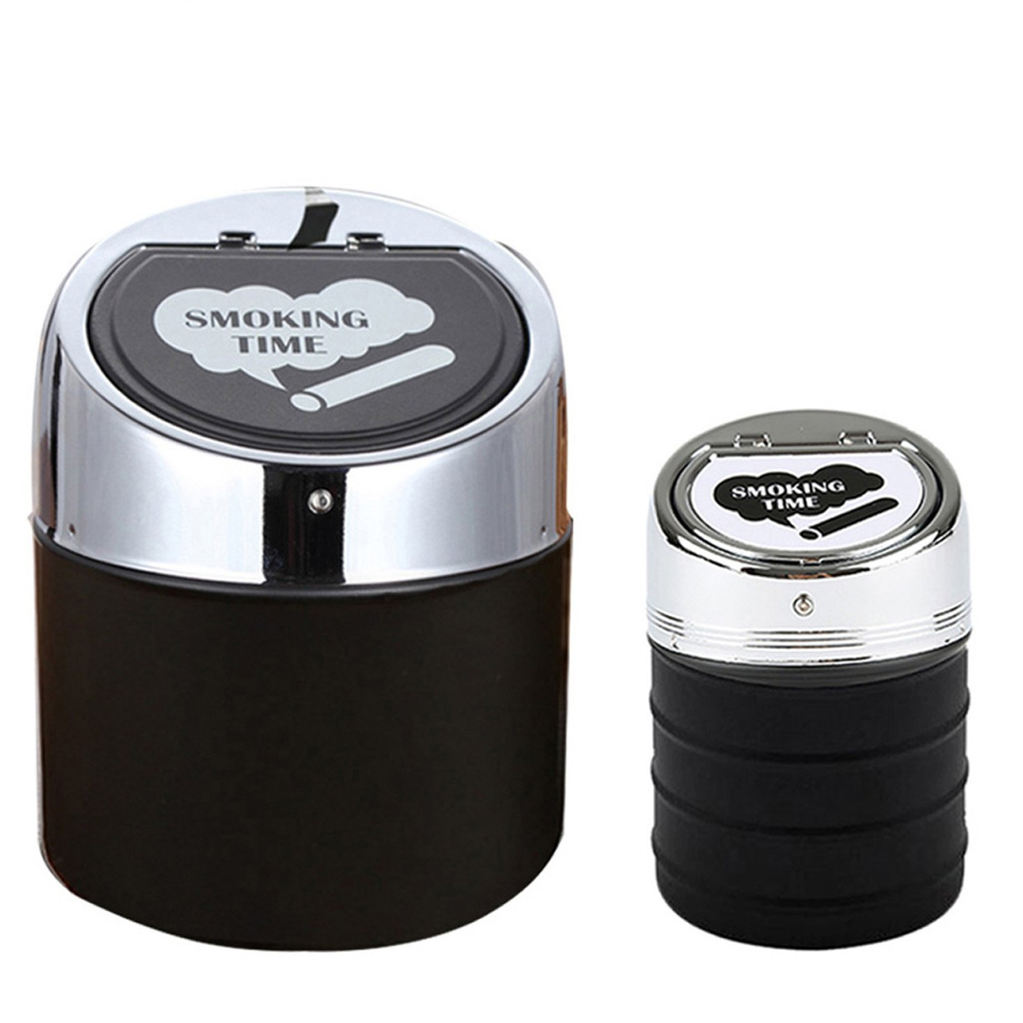 Coralpearl Smokeless Metal Steel Ashtrays for Cigarettes Cigars with Stainless Steel Lid Portable Windproof for Indoor,Outdoor,Auto,Home,Sand,Car,Patio (Smoking time Big+Small)