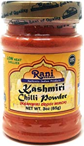 Rani Kashmiri Chilli Powder (Deggi Mirch, Low Heat) Ground Indian Spice 3oz (85g) PET Jar ~ All Natural, Salt-Free | Vegan | No Colors | Gluten Friendly Ingredients | NON-GMO | Indian Origin