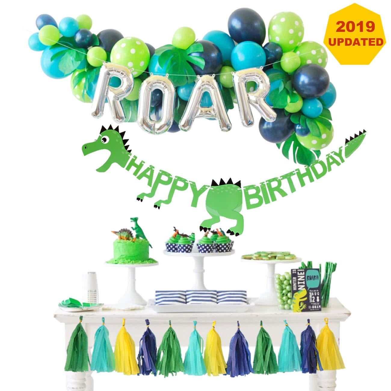 Dinosaur Party Decorations Balloons Garland Kit with ROAR Foil Balloon and Little Dino Happy Birthday Banner for Boys 3 4 Birthday Party Baby Shower Decor