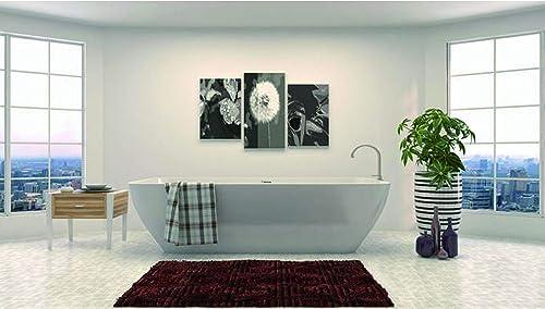 Vanity Art Freestanding White Acrylic Bathtub Modern Stand Alone Soaking Tub