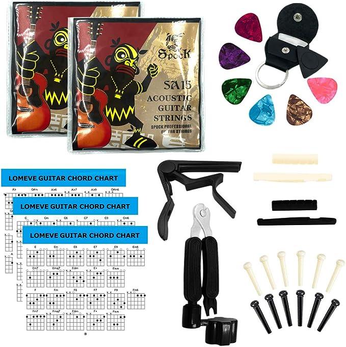 Kit de accesorios para guitarra LOMEVE que incluye cuerdas para guitarra acústica, cejilla, herramienta 3 en 1 para caballete de cuerdas, cortador y extractor de ...