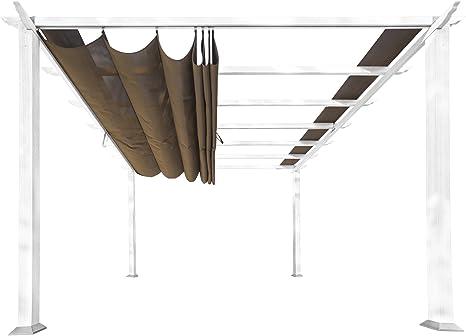 Paragon Outdoor PR16WTC Verona - Pérgola de Aluminio (Marco Blanco/toldo de Cacao): Amazon.es: Jardín