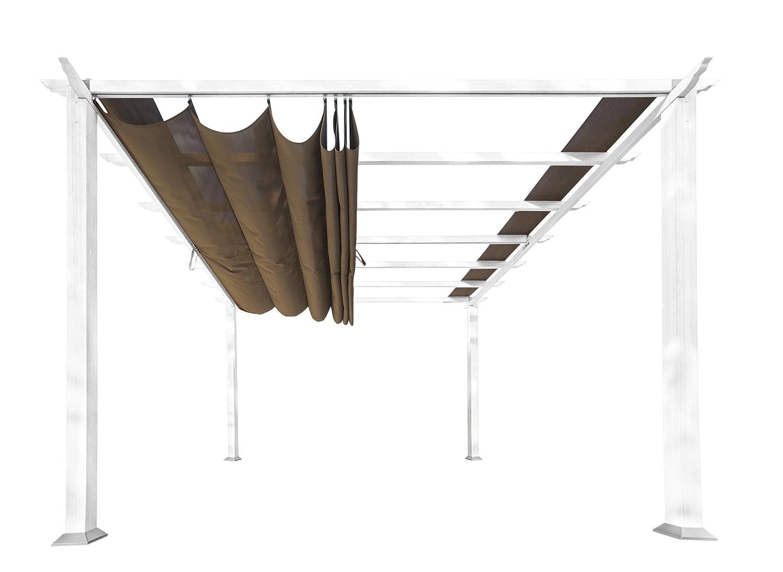 Paragon-Outdoor PR11WTC Backyard Structure Soft Top with White Frame Aspen Pergola, 11' x 11', Cocoa 11' x 11'