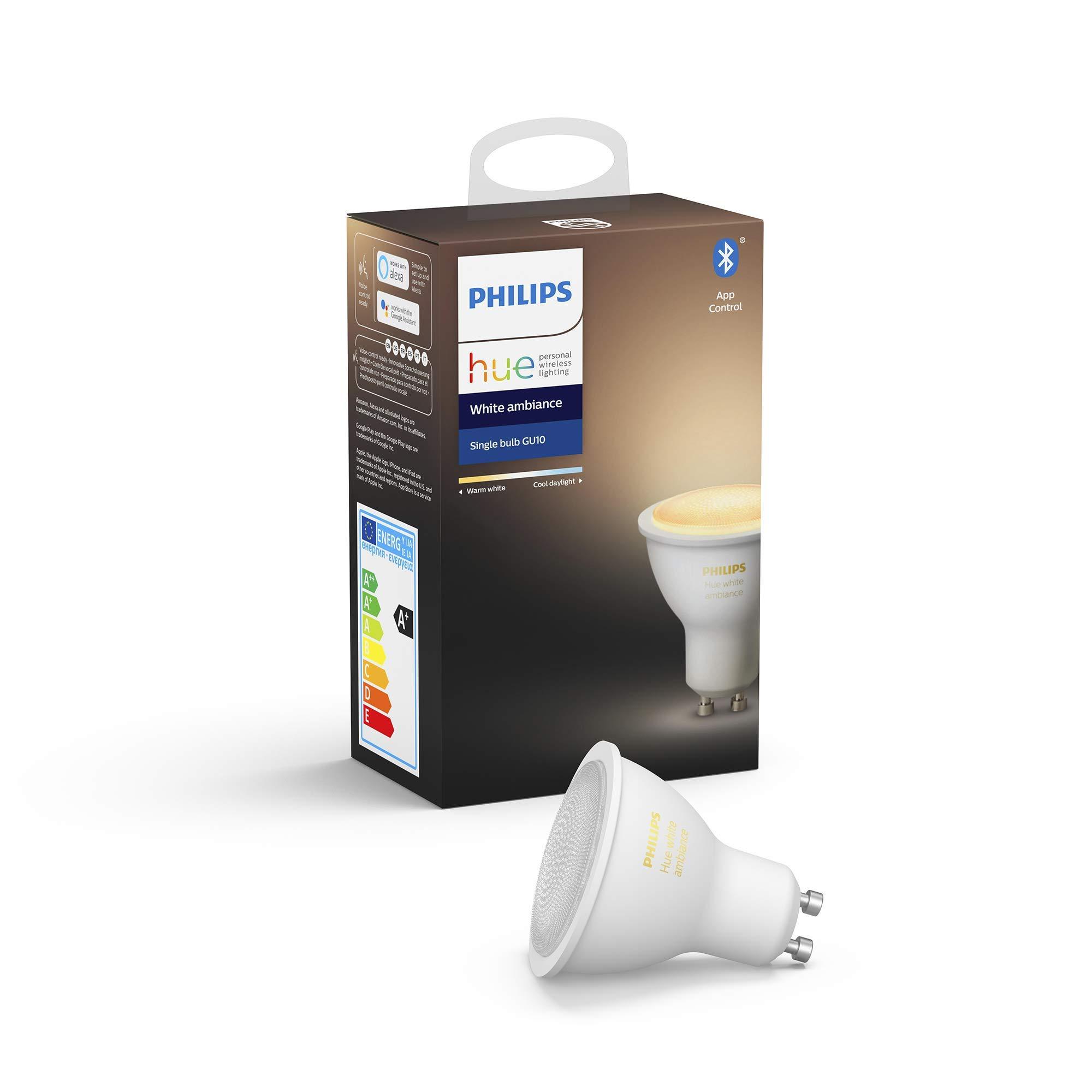 Philips Hue White Ambiance Inteligente LED GU10, con Bluetooth, Luz Blanca de Cálida a Fría, Compatible con Alexa y Google Home, 5 W, 1 Bombilla