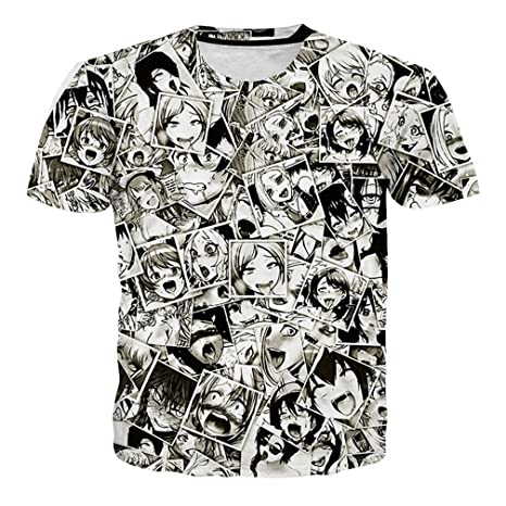 Mayelu Mens Ahegao Anime Hipster Hip Hop o Cuello Tees Tops Casuales 3D Plus Size Tshirt nrRSl