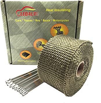 New Titanium For Car Truck Boat Exhaust Header Heat Wrap With Stainless Ties