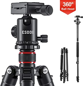 """ESDDI Camera Tripod, DSLR Tripod with 360° Ball Head, 64"""" Aluminum Tripod with Monopod 1/4"""" Quick Release Plate and Phone Holder for Vlog,Travel and Work"""