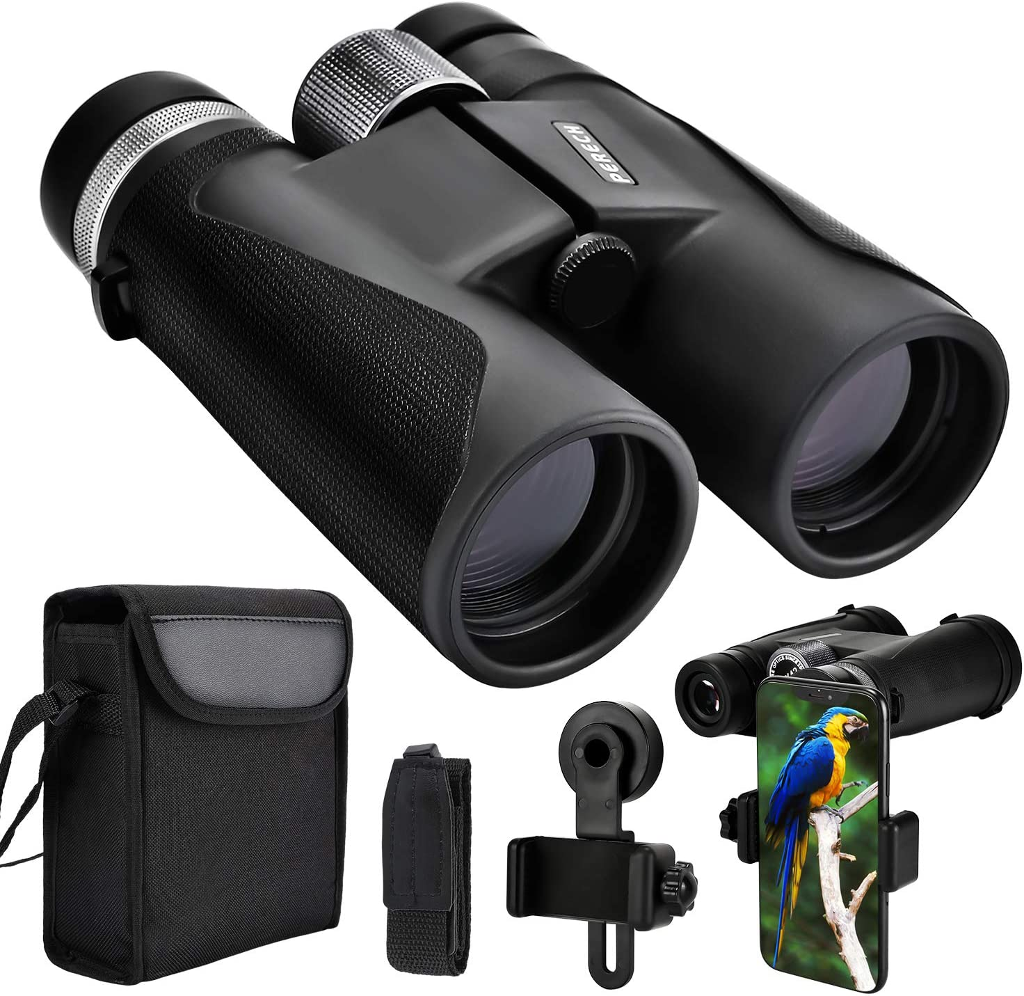 PERECH 12X42 Binoculars HD BAK4 Prism with High Definition Low Light Night Vision Defense, Compact Waterproof Binoculars for Bird Watching Hunting Traveling and Sightseeing with Phone Adapter
