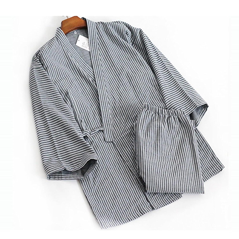 Trajes de estilo japonés de los hombres Traje de pijama de algodón puro Kimono pijama Set-S oC6r1iv9m