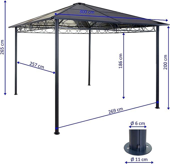 Carpa pérgola toldo HWC-C77 3 x 3 m techo rígido con cortinas: Amazon.es: Hogar