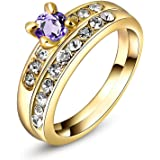Epinki Wedding Ring for Women Girls Gold Plated Women Band Fashion Plum Cubic Zirconia Wedding Ring