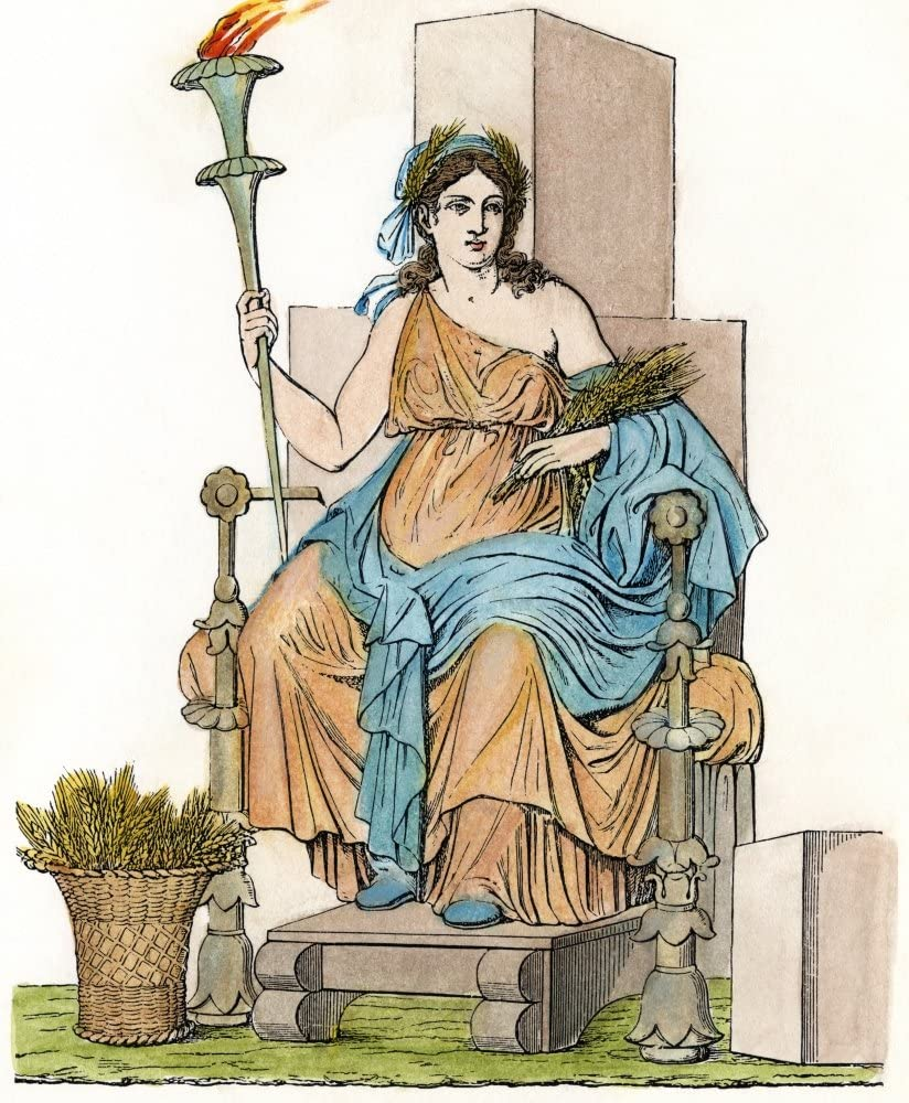 DemeterCeres Nthe Greek Goddess (Roman Goddess Ceres) Of The Growth Of Food Plants Enthroned With Her Attribute Of Wheat Nline Engraving After A Wall Painting In Pompeii Italy 19Th Century Poster Prin