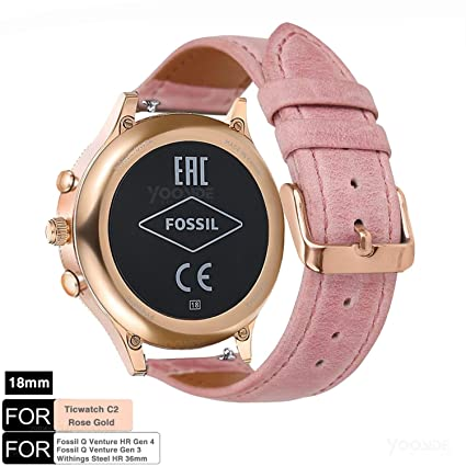 YOOSIDE for Fossil Venture Watch Band, 18mm Quick Release Classic Leather Women Wrist Strap for Fossil Q Venture Gen 3/Gen 4(Pink)