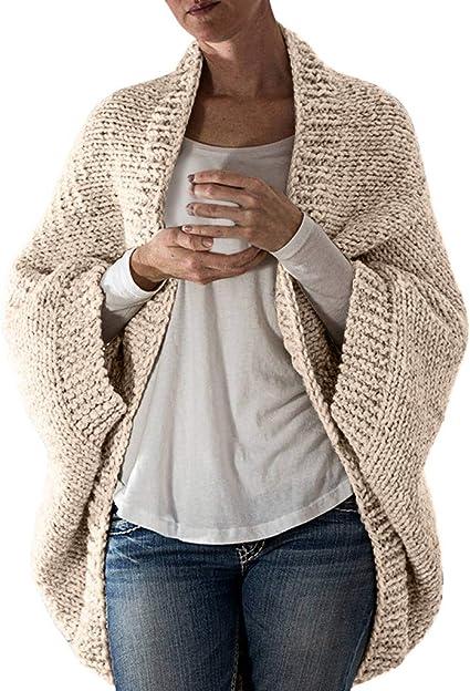 Jolicloth Womens Women Open Front Long Sleeve Chunky Knit Cardigan Sweaters