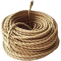 Cable Textil - Meirrai Cable Eléctrico Trenzado Revestido 5 m, Cable Cuerda Vintage, 2 Núcleos 0,75 mm², Lino Cable de…