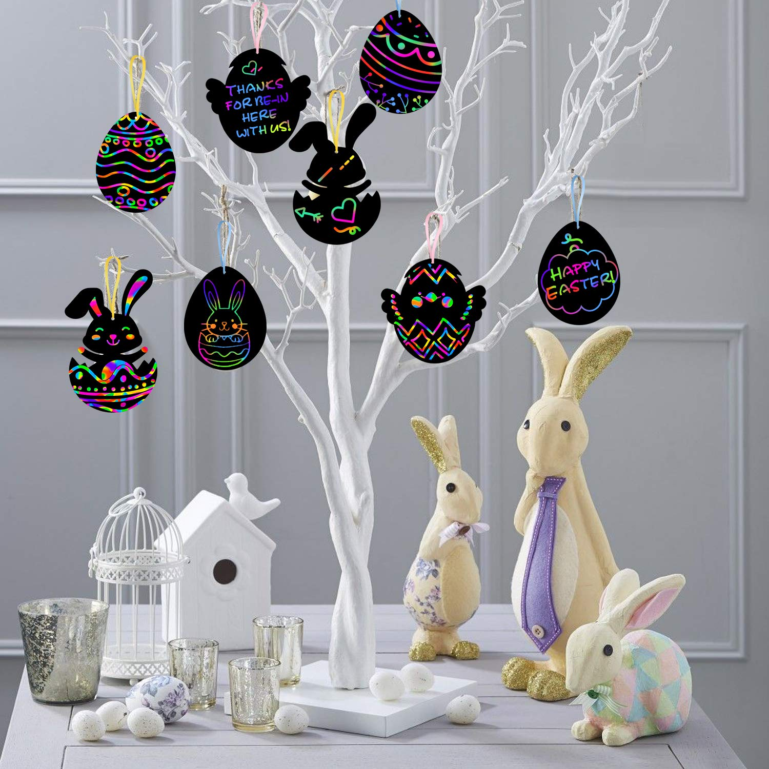 Bunny Eggs Chicks Decoration For Home Tree Classroom Party Mordun