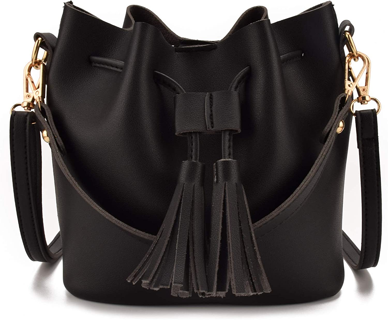 Jiaruo Mini Women Leather Tassel Design Small Ladies Drawstring Bucket Crossbody bag Handbags