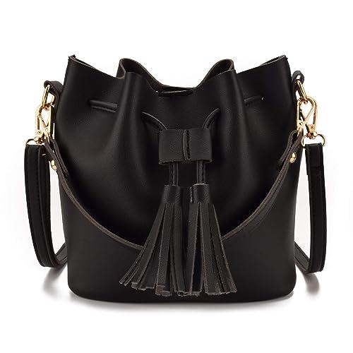 Jiaruo Women Leather Tassel Design Ladies Drawstring Handbags Shoulder bag  (black) 75b5779a69