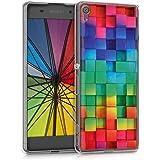 kwmobile Funda para Sony Xperia XA - Carcasa de [TPU] para móvil y diseño de Cubos de Colores Verde/Azul