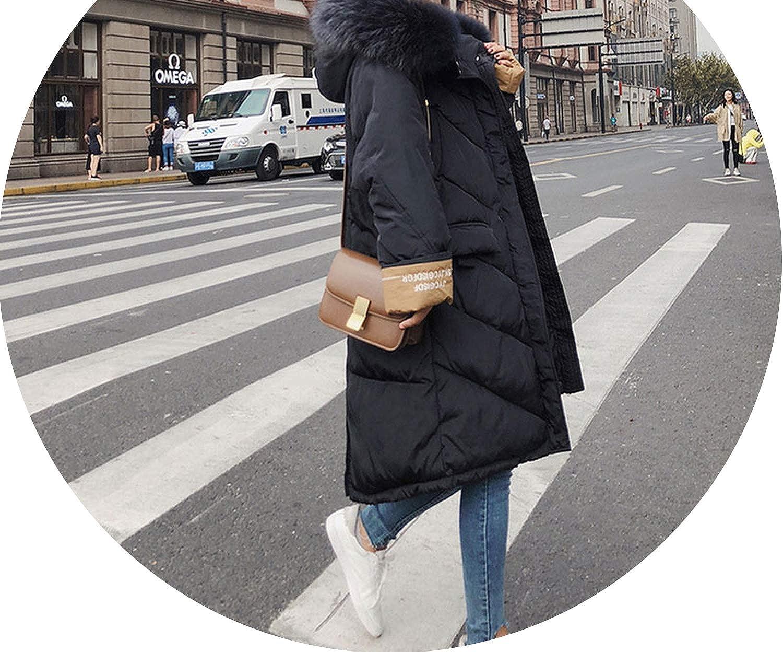 Winter Down Coat Jacket Long Thick Warm Women Casaco Wadded Parkas 05,Black,M,
