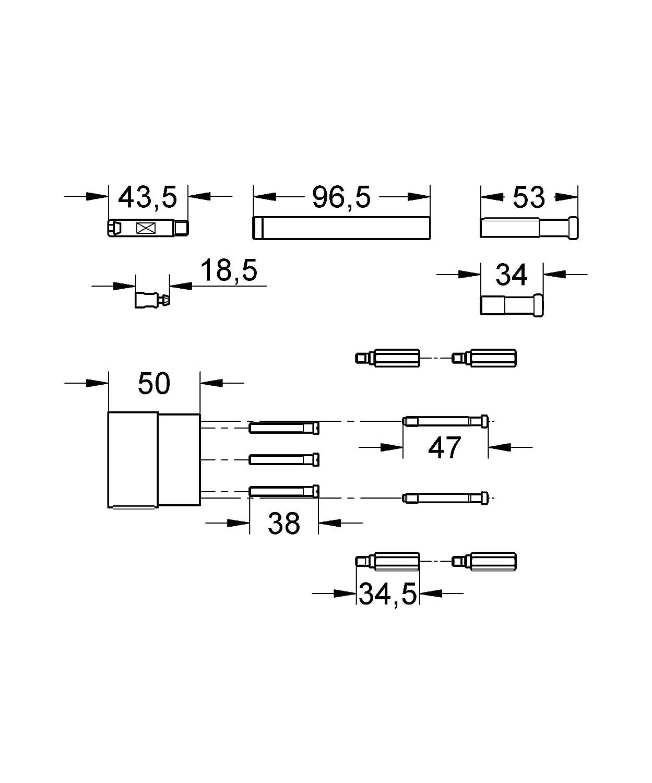 Cromo Grohe 46343000 Set per Estensione 50 mm